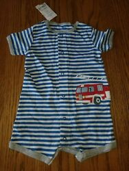 New Carter's 1 Piece Baby Boys Romper Blue White Striped Fire Truck Shorts