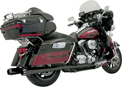 Bassani +p Stepped True Duals Exhaust System Black With Black Fluted End Caps