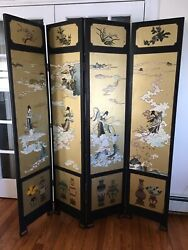 Antique Asian Japanese/chinese Hand Painted Room Divider Folding Screen Dragons