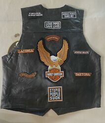 Roberto Amee Designer Collection Mens Genuine Leather Vest With Biker's Patches  $59.99
