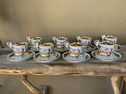 Set Of Eight Vintage R. Capodimonte Cups And Saucers. Gold Interior