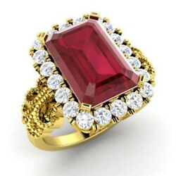 Solid 14k Yellow Gold Ring 3.10 Ct Real Diamond Ruby Gemstone Band Size 5 6 7 8