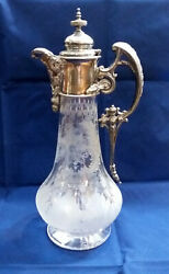 Antique Carafe Cut Crystal With Baroque Style Silver Plated Metal Top