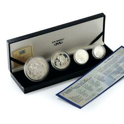 South Africa Set Of 4 Coins 50,20,10,5 Cents Wildlife Elephant Silver Proof 2002