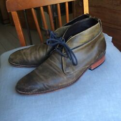 Cole Haan - Size 11 Men's Leather Shoe/boot - Olive Green Leather And Blue Laces
