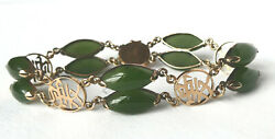 Vintage 14k Yellow Gold 2 Row Marquise Jade Chinese Symbol Love Bracelet 13gr