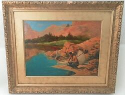 Antique American Western School Oil Painting Signed Indian Canoe Mountain Desert