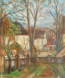 William Ralph Watson 1881-1968 Quebec American Original Oil Painting Town Signed