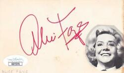 Alice Faye D. 1998 Signed 3x5 Index Card Singer/youand039ll Never Know Jsa Gg73351