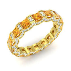 3.88 Ct Natural Diamond Citrine Eternity Band 14k Yellow Gold Rings Size 6 7 8 9