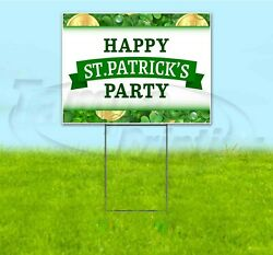Happy St. Patrick's Party 18x24 Yard Sign With Stake Corrugated Bandit Holiday