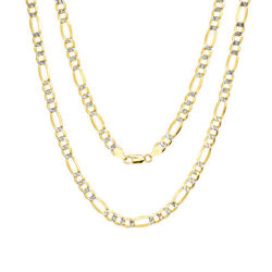 10k Yellow Gold Mens 7mm Diamond Cut White Pave Figaro Chain Necklace 20- 30