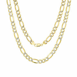 10k Yellow Gold Mens 9mm Diamond Cut White Pave Figaro Chain Necklace 24- 30