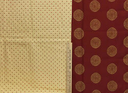 Fabric Circles Gold On Burgundy 14 X 118 Red Dots Yellow Check 27 X 105 Lot Of 2