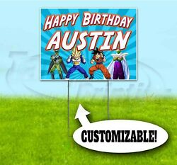 Happy Birthday Custom Name 18x24 Yard Sign With Stake Corrugated Bandit Party