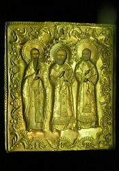 Antique Hand Painted Russian Icon Of Three Saints In Brass 19th C