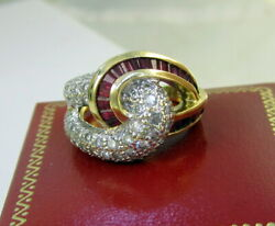 Vintage Fabulous 14k Yellow White Gold 1.97 Carat Diamond Ruby Lovers Knot Ring