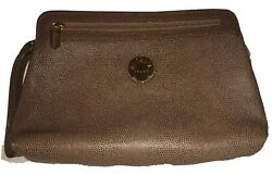 ELIANA Taupe Textured Leather Clutch Detachable Wristlet Strap Gold Hardware $52.00