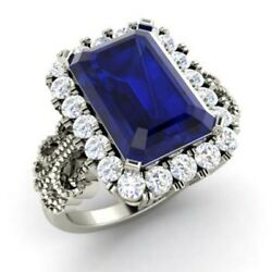 3.10 Ct Natural Diamond Blue Sapphire Engagement Ring Solid 950 Platinum Band N