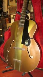 Vintage 1963 Harmony Monterey Colorama Archtop Acoustic Guitar Gold And Green