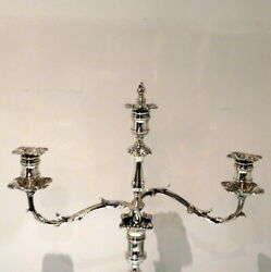 Late 19th Century Antique Victorian Pair Silver Plated Three Light Candelabra