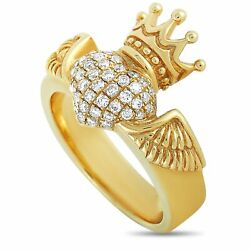 King Baby 18k Yellow Gold And Diamond Winged Heart Ring