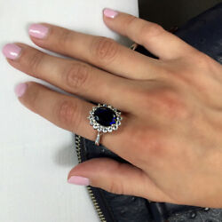 3.48 Ct Real Diamond Blue Sapphire Bridal Ring 14k Solid White Gold Size 6 7 8.5