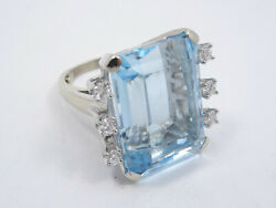 Massive Solid 14k White Gold With 0.72 Tcw Diamond And 32ct Aquamarine Ring 15g