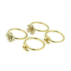 Ring Here Mark Camellia White Pink Gold-plated Auth Used T17651
