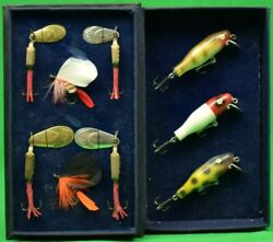 And039tackle Your Businessand039 9 French Fish Hooks C1957 In Leather Clamshell Box