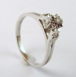 100 Genuine Vintage 14k Solid White Gold Hand Wrought Solitaire Ring Sz 6.5 N
