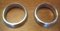 Vintage Headlight Trim Chrome Rings Pair 1940and039s - 1950and039s