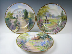Set Of 12 Hand Painted Porcelain Plates Bailey Banks And Biddle Artist A.rhodes