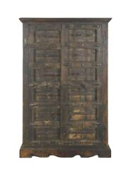 Antique Indian Iron Mounted Oak Two Door Cabinet Armoire Hall Cupboard