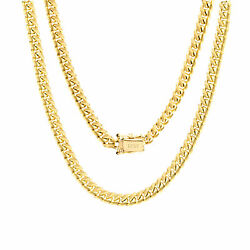 10k Yellow Gold Solid 5mm Mens Miami Cuban Chain Pendant Necklace Box Clasp 26