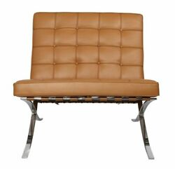 Barcelona Style Chair Reproduction Premium Italian Aniline Leather Light Brown
