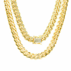 14K Yellow Gold Solid 8mm Mens Miami Cuban Chain Pendant Necklace Box Clasp 28