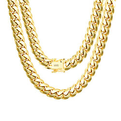 14K Yellow Gold Solid 9mm Mens Miami Cuban Chain Pendant Necklace Box Clasp 24