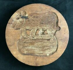 Antique Pennsylvania Dutch Hand Carved Wood Boar Cheese Mold Press