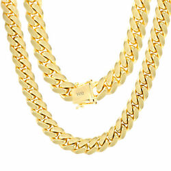 14K Yellow Gold Solid 10mm Mens Miami Cuban Chain Pendant Necklace Box Clasp 28