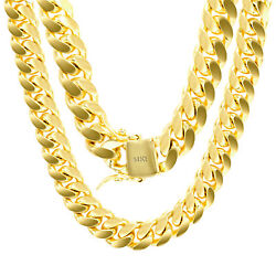 14K Yellow Gold Solid 11mm Mens Miami Cuban Chain Pendant Necklace Box Clasp 28