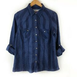 Broderie Anglaise Top Great Condition Boho Hippie Navy Blouse