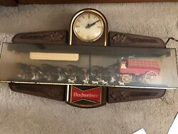 Antique-vintage Budweiser Clydesdale Horse And Wagon Indoor Clock.