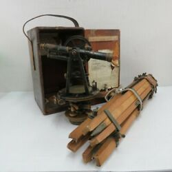 Vintage Buff And Buff Co. Surveying Transit With Original Box And Tripod