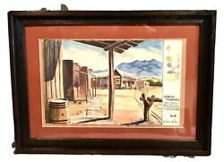 Antique Vintage Signed Ruth Lotan Western Watercolor Painting Drawing Framed Old