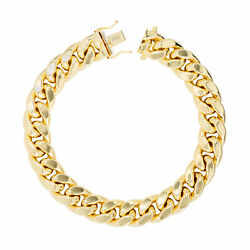 14k Yellow Gold Mens 12.5mm Miami Cuban Link Chain Bracelet Safety Box Clasp 9