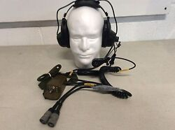 Vintage Roanwell Us Military Headset Microphone Pilot Helicopter Aviation Nos