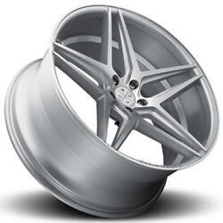 4 22 Staggered Blaque Diamond Wheels Bd-8 Silver With Polished Rims B4