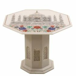 24 Marble Center Table Top Semi Precious Stones Handicraft With Marble Stand