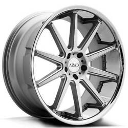 4 22 Staggered Azad Wheels Az95 Silver Brushed With Chrome Ss Lip Rimsb1